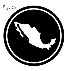 white map of mexico on black circle vector image
