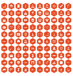 100 film icons hexagon orange vector
