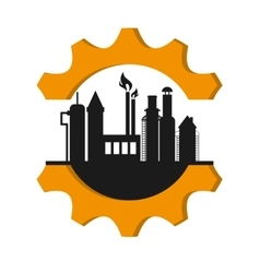 Oil refinery with gear icon vector