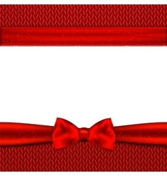 Red bow on knitted background vector