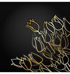 tulips on black vector image
