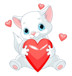 Valentines Kitten vector image