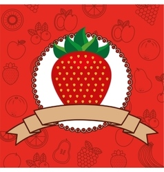 Fresh fruit frame with ribbon vector