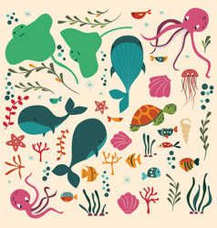 Collection of colorful sea and ocean animals vector