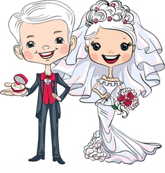 Fashionable beautiful bride and groom vector