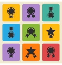 Black medalaward icons set vector