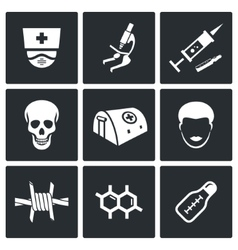 Ebola epidemic icons set vector