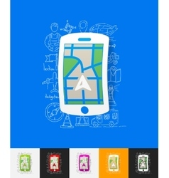 Gps paper sticker with hand drawn elements vector