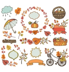 Autumn leaves branchesplant harvest decorations vector