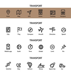 Different line style icons set transport vector