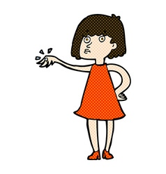 Comic cartoon woman showing off engagement ring vector