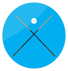 Icon billiard cue crossed and white ball vector