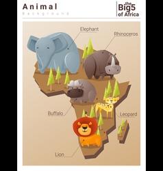 Wild African animal background Big five 2 vector image