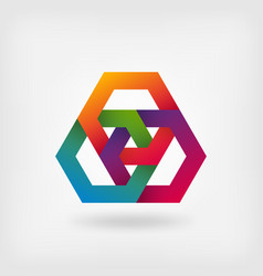 abstract interlocking hexagons in rainbow colors vector image vector image