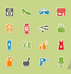 Beauty salon icon set vector