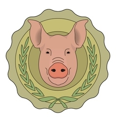 Butchery eco logo pig in laurel wreath color vector