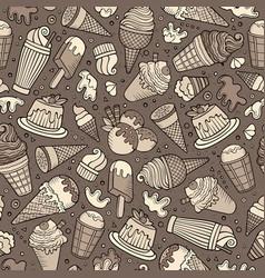 cartoon hand-drawn ice cream doodles seamless vector image vector image