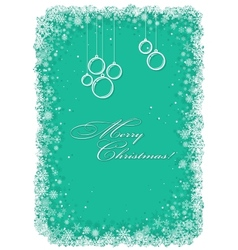 Christmas frame with snowflakes over green vector image