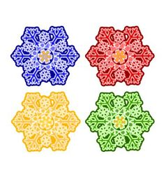 Christmas trimmings snowflake faience vintage vector