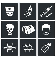 Ebola epidemic icons set vector image