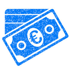 Euro money credit card grunge icon vector