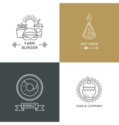 Fast food restaurant and cafe logo set in vector