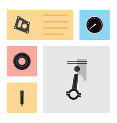 Flat icon component set of gasket wheel vector