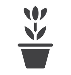 flower in pot solid icon plant and decor vector image