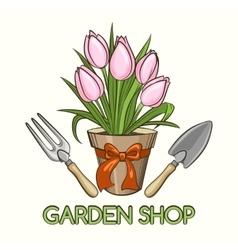 Garden Shop Emblem vector image vector image
