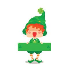happy st patricks day leprechaun greeting sign vector image vector image