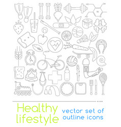 icons of healthy food and sport vector image