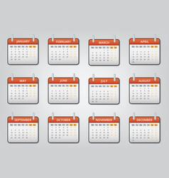 Loose leaf calendar 2018 icons set cartoon style vector