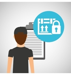 Man delivery checking cardboard box security vector