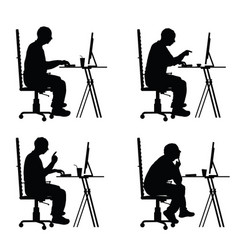 man silhouette sitting with laptop vector image