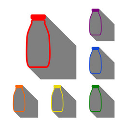 milk bottle sign set of red orange yellow vector image