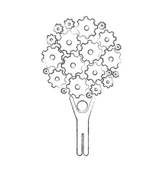 Monochrome sketch of man holding up pinions set vector