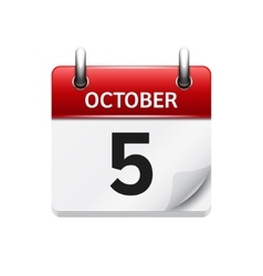 October 5 flat daily calendar icon date vector