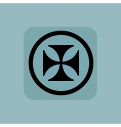 Pale blue maltese cross sign vector