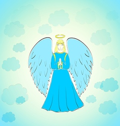Praying angel in blue sky vector