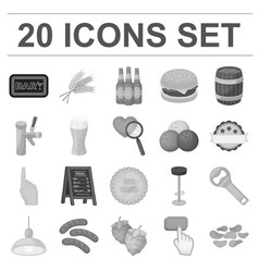 Pub interior and equipment monochrome icons in vector