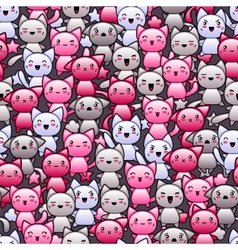Seamless pattern with cute kawaii doodle cats vector