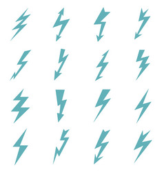 Set of blue color lightnings vector