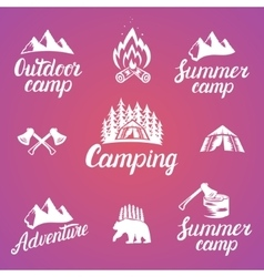 Set of outdoor adventure badges and camping logo vector image vector image