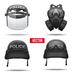 Set of police helmets and mask vector