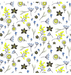 Small flowers and branches seamless pattern vector