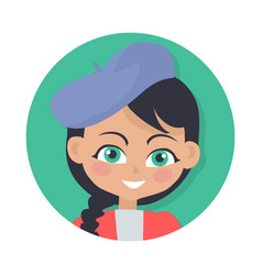 Smiling girl with black braid and forelock hat vector