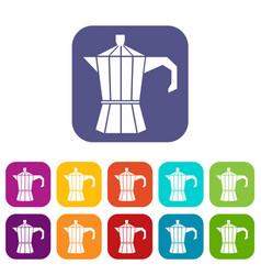 Steel retro coffee pot icons set vector