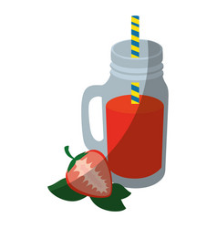 Strawberry smoothie icon vector