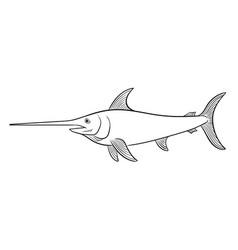 Swordfish coloring book vector