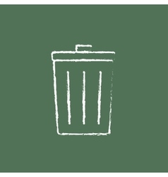 Trash can icon drawn in chalk vector image vector image